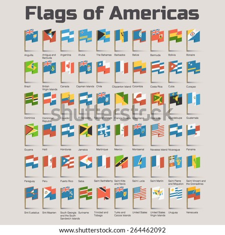 Flags of Americas. Vector Flat Illustration with American countries flags in cartoon style - stock vector