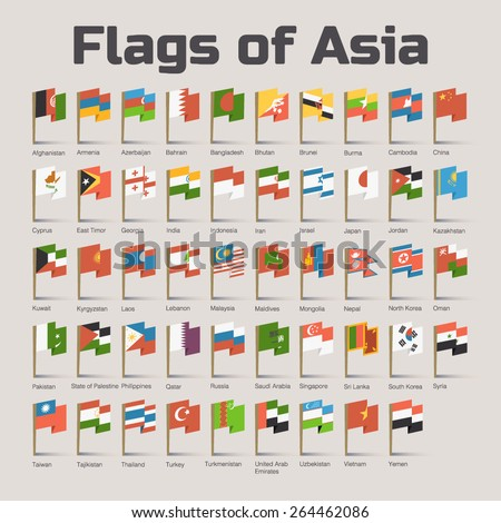 Flags of Asia. Vector Flat Illustration with Asian countries flags in cartoon style - stock vector