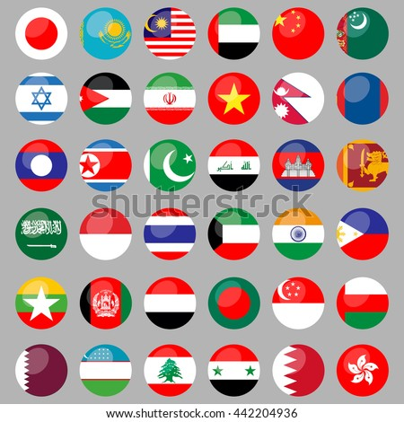 Flags of Asian countries. 36 correct flags. set