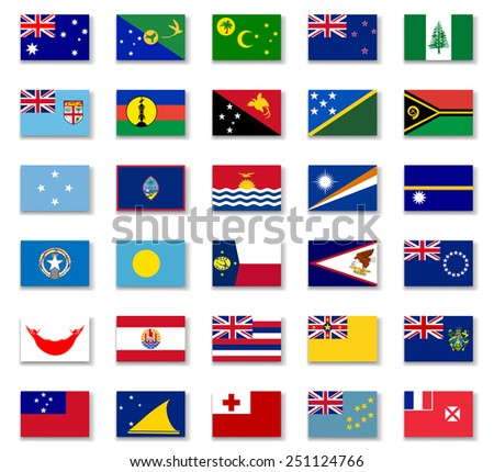 Flags of Australia and Oceania. Vector - stock vector