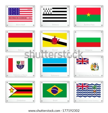 Flags of Bikini Atoll, Brittany, Burkina Faso, Bolivia, Brunei, Bulgaria, Bosnia and Herzegovina, Botswana, British Antarctic Territory, Zimbabwe, Brazil and British Indian Ocean Territory.