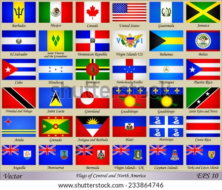 Flags of Central and North America with Names of Countries - stock vector