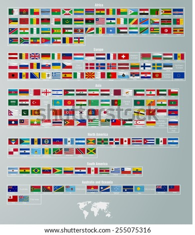 flags of countries divided by parts of the world - stock vector