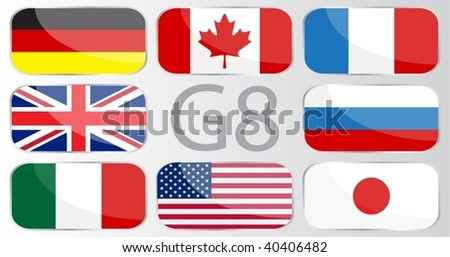 Flags of countries member of the G8 - stock vector