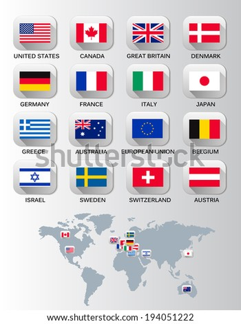 Flags of different countries. Vector. - stock vector