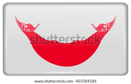 Flags of Eaaster Rapa Nui in the form of a magnet on refrigerator with reflections light. Vector illustration - stock vector
