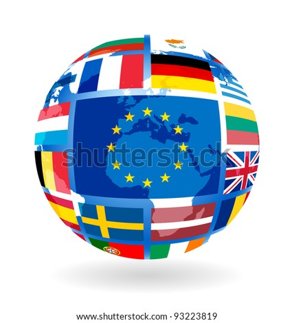 Flags of EU countries on globe sphere ball transparency - stock vector