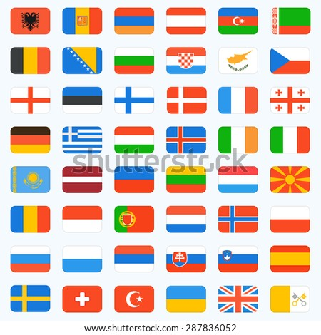 Flags of Europe, complete set. Vector icons - stock vector