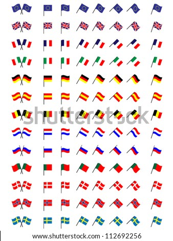 Flags of Europe 1 (No Coats of Arms) - stock vector