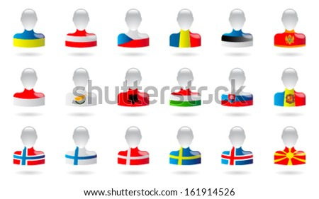 Flags of Europe (people) - part II - stock vector