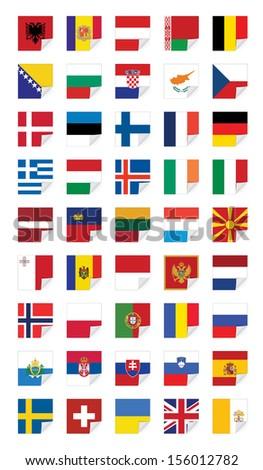 Flags of European States, on white - stock vector