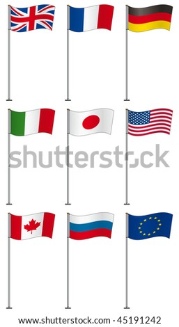 Flags of G8 members (and EU) on flag pole isolated on white background - stock vector