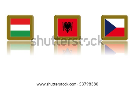 Flags of Hungary, Albania and the Czech Republic with gold frame and reflection