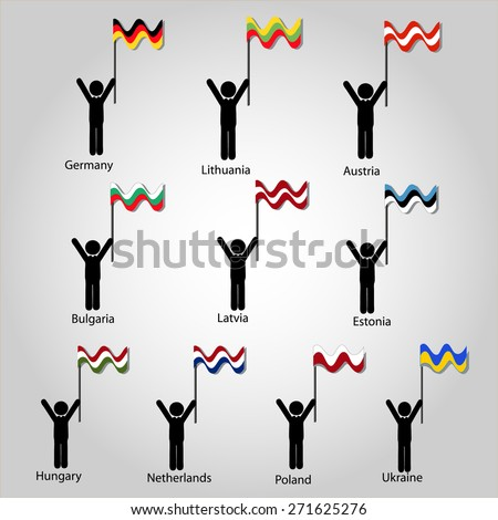 flags of lands - stock vector