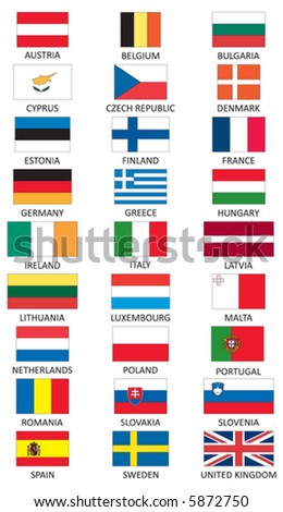 Flags of member states of European Union (EU) - stock vector