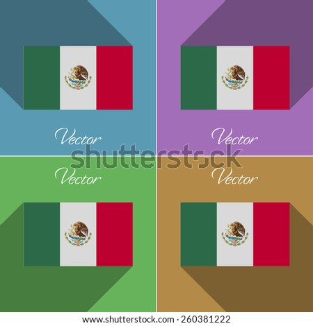 Flags of Mexico. Set of colors flat design and long shadows. Vector illustration - stock vector