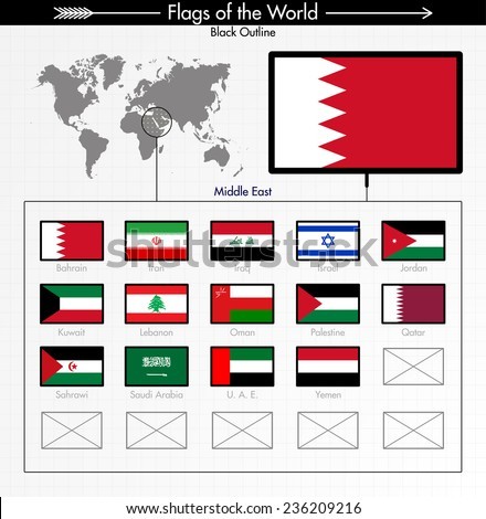 Flags of Middle East Collection, BLACK OUTLINE. Part 6/6 - stock vector