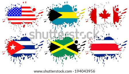 Flags of North America as spots - stock vector