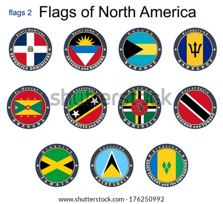 Flags of North America. Flags 2. Vector. - stock vector