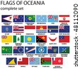 Flags of Oceania, all countries in original colors - stock vector