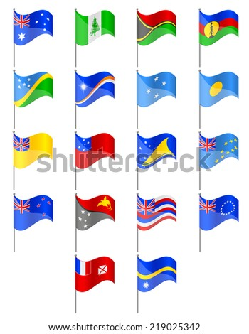 flags of Oceania countries vector illustration isolated on white background - stock vector