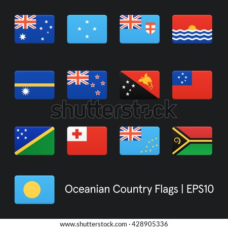 Flags Of Oceania. Vector icons set.