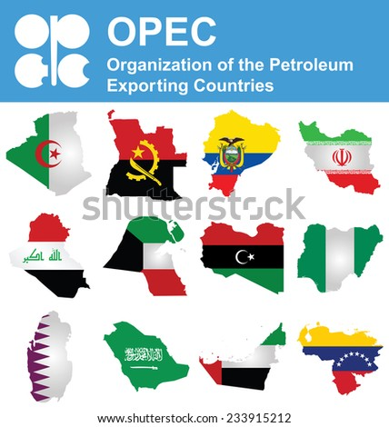 Flags of OPEC the Organization of the Petroleum Exporting Countries overlaid on outline map isolated on white background  - stock vector