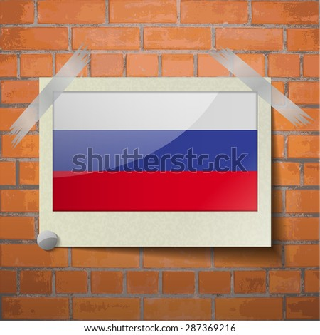 Flags of Russia scotch taped to a red brick wall. Vector - stock vector