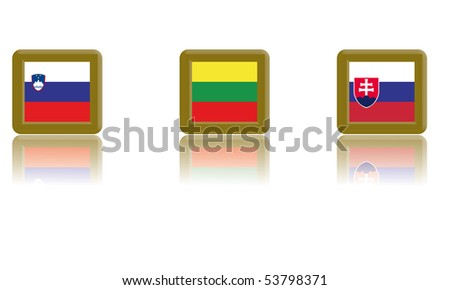 Flags of Slovenia, Lithuania and Slovakia with gold frame and reflection - stock vector