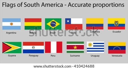 flags south america continent names proper stock vector royalty