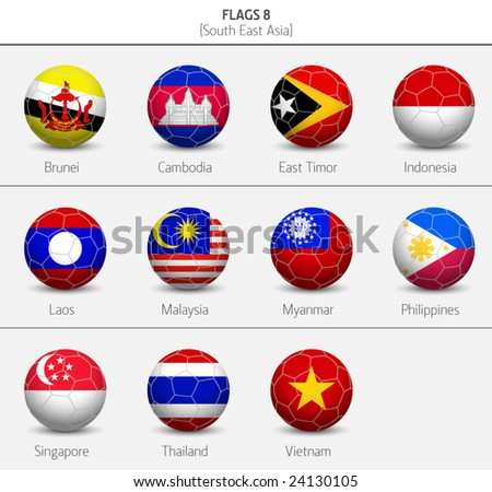 Flags of Southeastern Asia 8 - stock vector