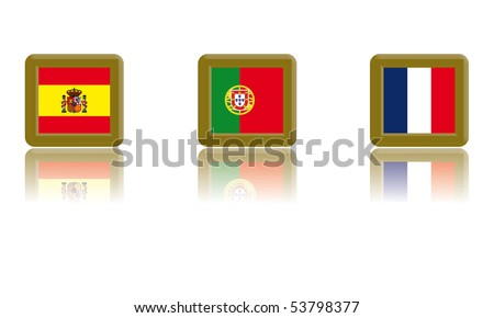 Flags of Spain, Portugal and France with gold frame and reflection