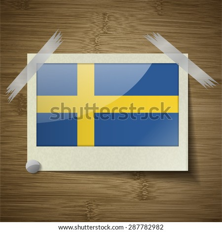 Flags of Sweden at frame on wooden texture. Vector illustration - stock vector