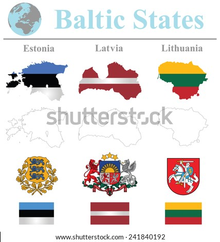 Flags of the Baltic States collection overlaid on outline map isolated on white background  - stock vector