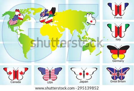 Flags of the countries of the Big Seven in the form of butterflies on the world map