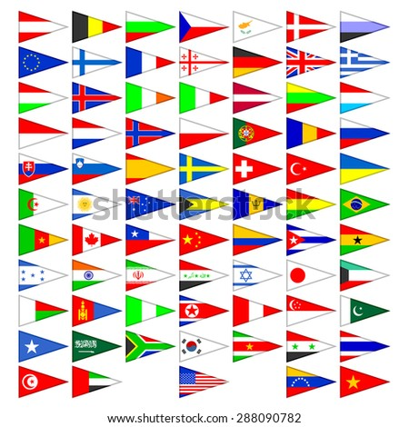 Flags of the countries of the world. A set of the isolated icons on a white background. - stock vector