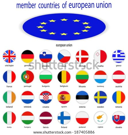 flags of the european union  - stock vector