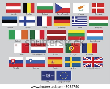 Flags of the 27 members of the European Union as of 2008 plus the symbol of NATO and the European Union in real official proportions, named. Clean vector illustrations.