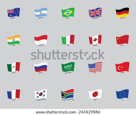 flags of the twenty States - stock vector