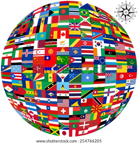 Flags world map on white background stock vector 254766205 flags of the world and map on white background vector illustration gumiabroncs Images