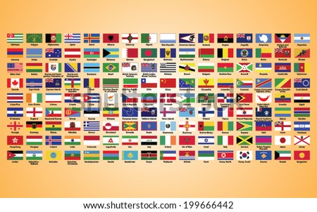 Flags of the world,  collection, listed alphabetically icon - stock vector