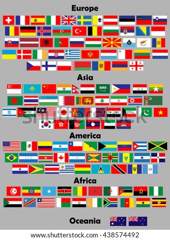 Flags of the world. 140 correct flags. set - stock vector