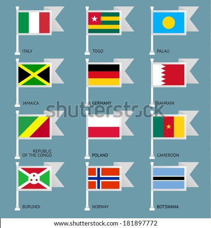 Flags of the world, flat vector illustration. Set number 06