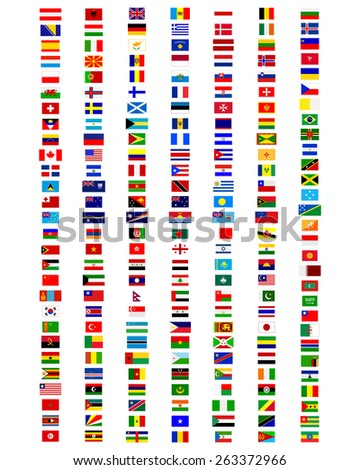 flags of the world on a white background - stock vector