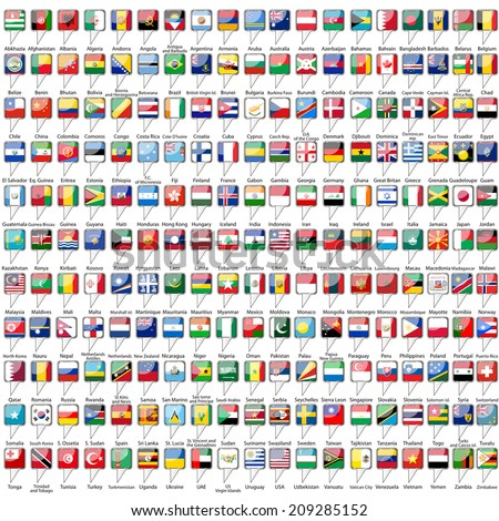 Flags of the world on white background - stock vector