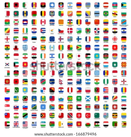 flags of the world - rounded rectangles icons with detailed emblems and official colors - stock vector
