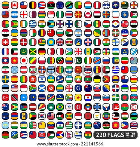 Flags of the world, rounded squares, big set - stock vector