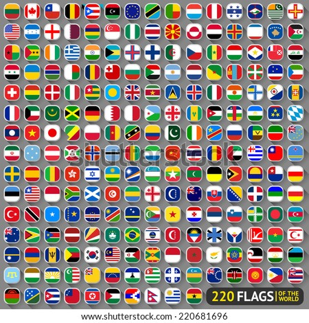Flags of the world, rounded squares with shadow, big set (2014) - stock vector