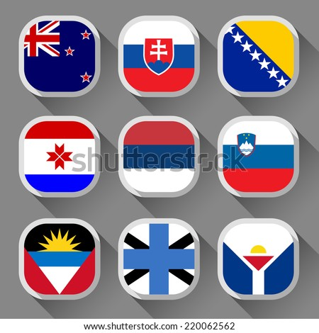 Flags of the world, rounded squares with shadow, set 19