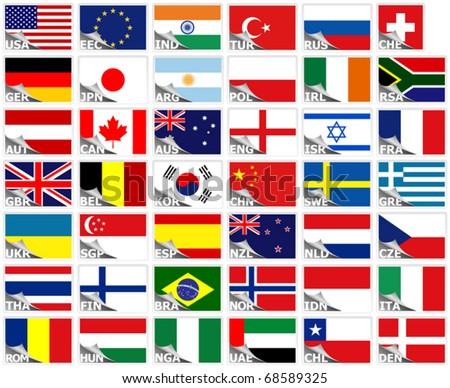 Flags of the world set (stickers collection) - stock vector